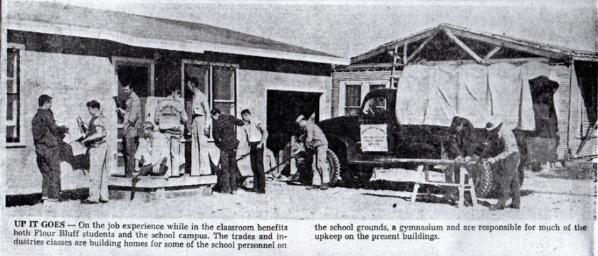 Picture of Floub Bluff Trades students building homes in 1958