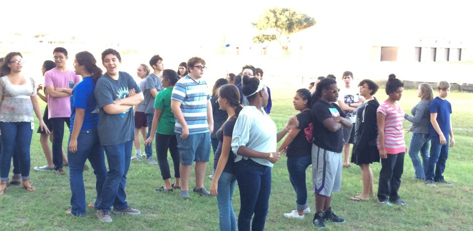picture of Flour Bluff High School choir members in team building exercise