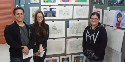 Port A Art Center Student Winner Katie King and art teacher Ryan Williams