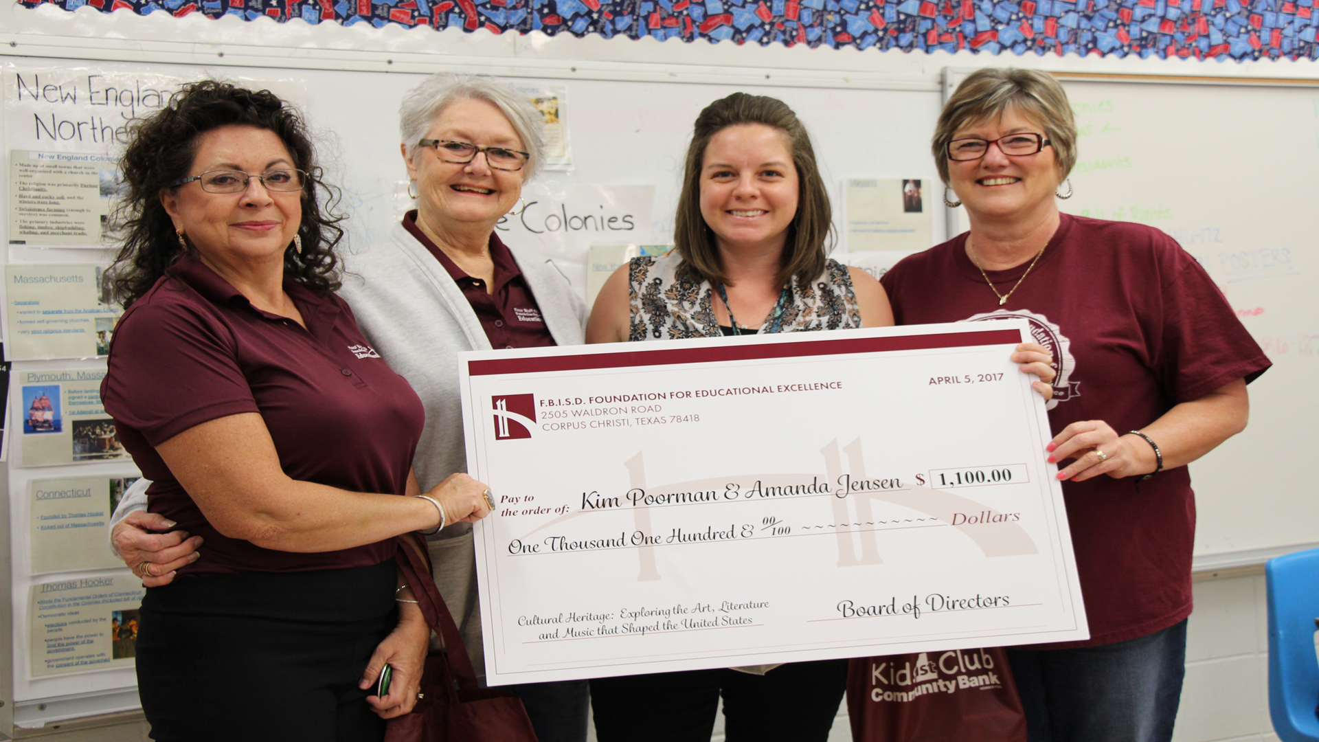 image Foundation Board members present a grant award check to teacher at Flour Bluff JH