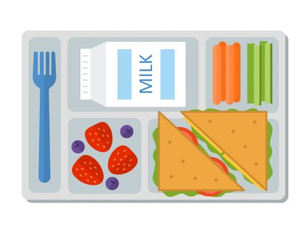 graphic lunch tray with food