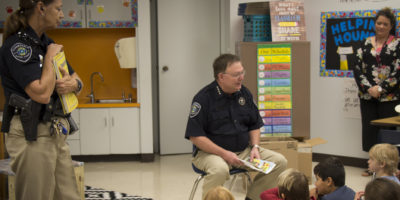 Constable Clark visits with Primary students about safety and keeping promises