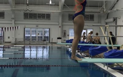 Diver Rebecca Hudson attemping a dive during practice at the Flour Bluff Nataorium.