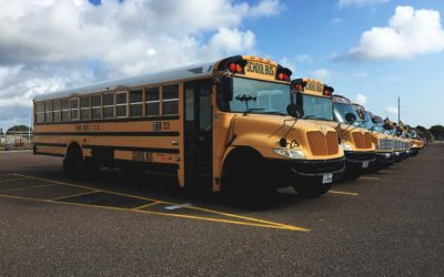 A row of FBISD school buses