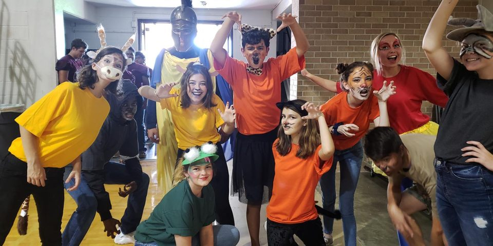 flour bluff theatre arts students dressed up as animals