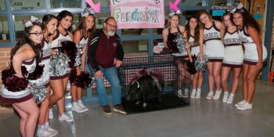Miss Penny the Pig, Mr James Crenshaw and Flour Bluff HS Cheerleaders