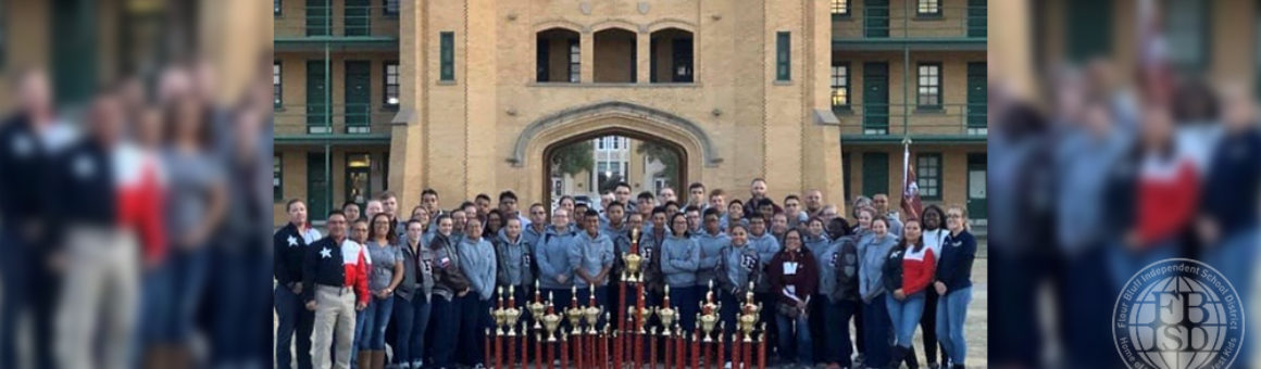 Flour Bluff NJROTC pictured with trophies from the New Mexico Military Institute JROTC Competition