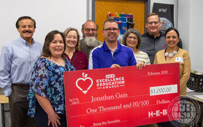 Jonathan Gain surprised in his classroom as an H-E-B Excellence in Education award finalist