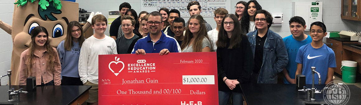 Jonathan Gain HEB Excellence in Education finalists surprised with the annoncement in his classroom