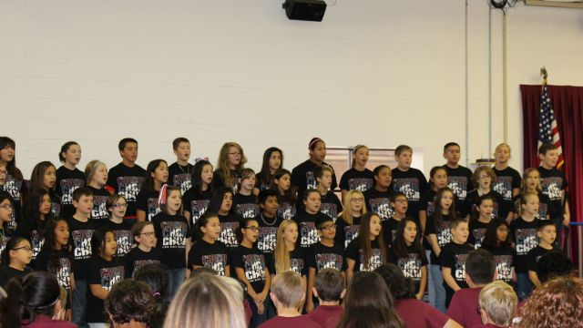 picture of Intermediate Choir students performing during Veterans Day Ceremony