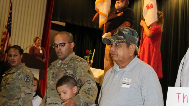 picture of Veterans being honored at Primary's Veterans Day Ceremony