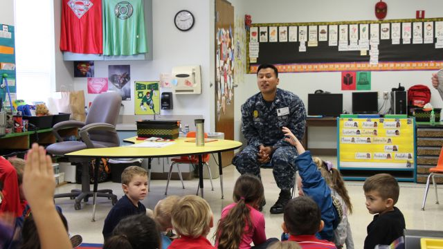 image ECC student parent talks about his career in the military as part of Career Day