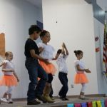 Kindergarten students perform dance during Cinco de Mayo celebration at ECC.